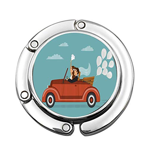 MichelleSmithred Newlywed Couple on Roadtrip in Vintage Car with White Balloons After Ceremony Custom Folding Hanger Holder Table Hook for Purse Handbag Utility