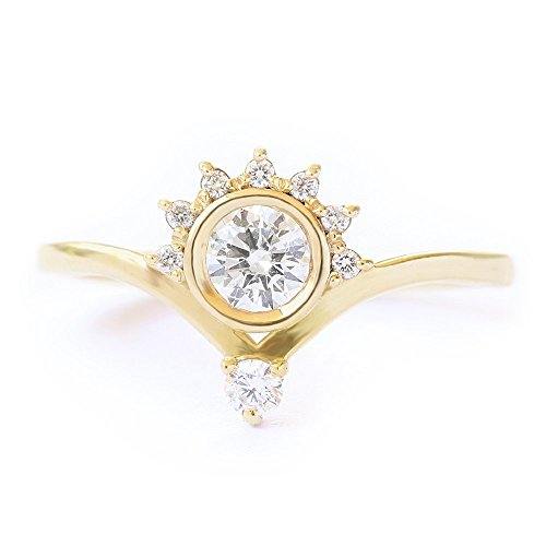 Unique-Crown-Diamond-Engagement-Ring-035-CT-Diamond-Ring-Crown-Engagement-Ring-Valentia-Engagement-Ring-14K-Yellow-Gold-Ring-Jewelry