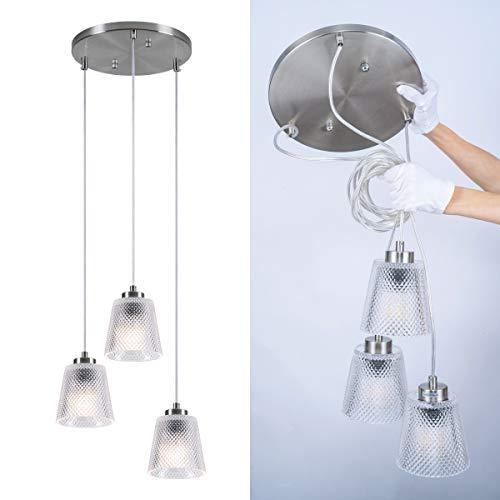 Modern Pendant Light Fixture Pendant Lights, 3-Light Chandelier Light with Glass Shades Polished Chrome Finished Base, Ceiling Hanging Pendant Light for Living Room Kitchen Island Dining Room