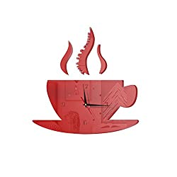 narutosak Wall Stickers Cute Coffee Mug Tea Cup Shape Analog Art Clock DIY Home Decoration - Red