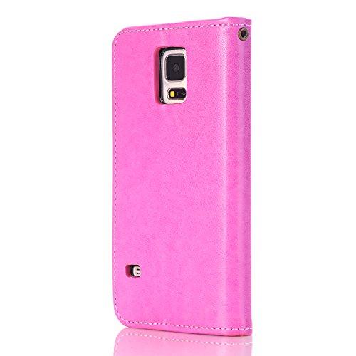 Ukayfe Flip funda de cuero PU para Samsung Galaxy S5, Leather Wallet Case Cover Skin Shell Carcasa Funda para Samsung Galaxy S5 con Pintado Patrón Diseño, Cubierta de la caja Funda protectora de cuero Rosa caldo(Rosa Fiore)