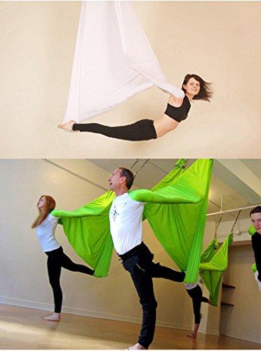 KIKIGOAL 5M Yoga Pilates Aerial Silk Kit Yoga Swing Aerial Yoga Antigravity Hammock Trapeze Silk Fabric for Yoga Strap Bodybuilding (light green)