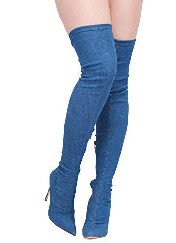 Punta Punta BLUEWITHFINE lo stivale elastico jeans 37 45W 45W 45W donna pompa xgT7qFwz