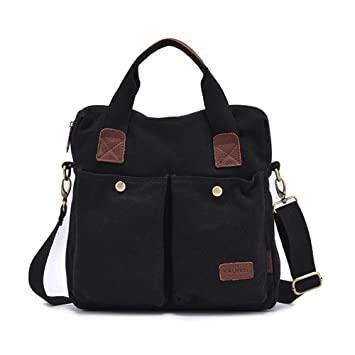 46bfc35118ae8 Estarer Messenger BAG Herren Umhängetasche A4-Hochformat Canvas Tasche  (schwarz)