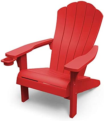 OUTDOOR PATIO GARDEN DECK FURNITURE RESIN ADIRONDACK CHAIR WITH BUILT-IN CUP HOLDER (RED)
