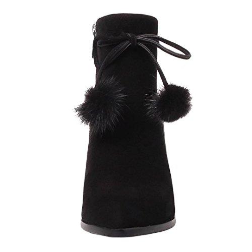 AIYOUMEI Damen Geschlossen Ankle Boots Blockabsatz Winter Stiefeletten mit 6cm Absatz und Bogen Schwarz