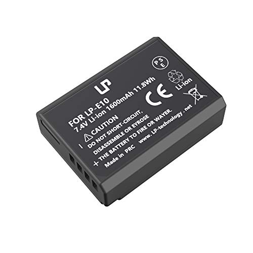 LP LP-E10 Battery, Rechargeable Lithium-Ion Battery, Compatible with Canon EOS Rebel T3, T5, T6, T7, 1100D, 1200D, 1300D, 1500D, 3000D, Hi, Kiss X50, X70, X80, X90, Cameras and LC-E10 Charger