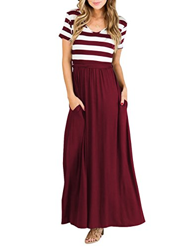 TECREW Women's Striped Floral Print Boho Long Maxi Dress 3/4 Sleeve Tie Waist with Pockets D-Wine