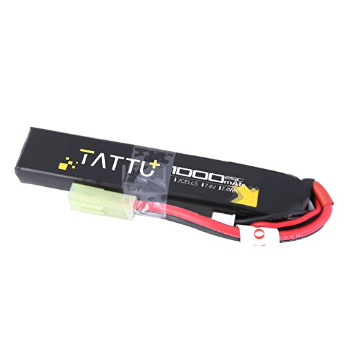 TATTU 7.4V LiPo Airsoft Stick Battery,1000mAh 25C 2S Battery Pack for Airsoft Gun with Mini Tamiya Connector by TATTU