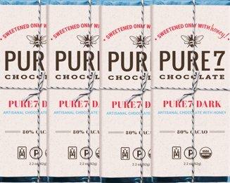 Bundle - 4 items: Pure7 Honey Sweetened Dark Chocolate Bar, Paleo (2.2oz) Organic, Kosher & Paleo Certified.!