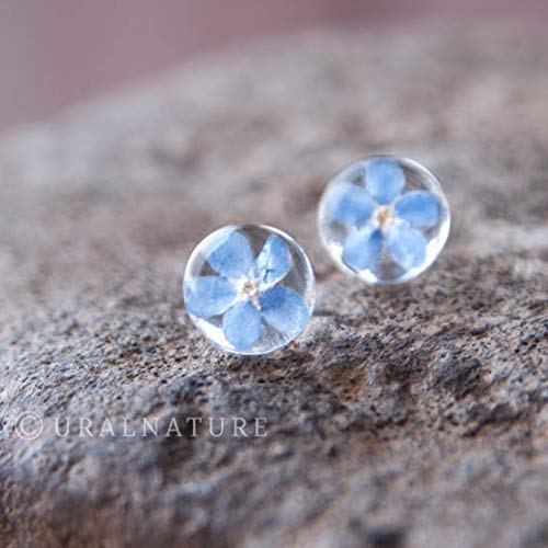 Forget me not earrings, Forget-me-not flower earrings, Blue stud earring, Blue wedding jewelry, Forgetmenot flowers, Stud earrings, 10mm - Flower Ring Jewelry