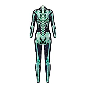 - 41nFfQIhh2L - Honeystore Women's Halloween Skeleton Catsuit Costume 3D Stretch Skinny Bodysuit