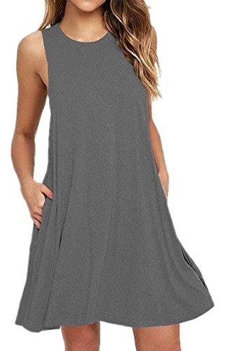 Sleeveless Pockets Jaycargogo Women's Swing Dresses Casual Grey Shirt with T 5Z8Uxqw78