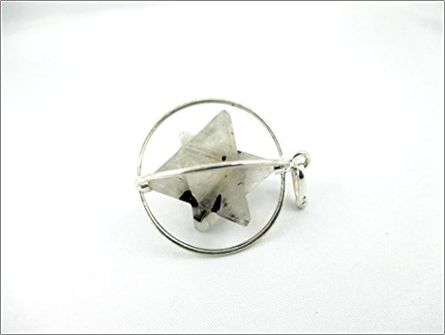 Jet Rutilated Quartz Spinning Star Merkaba Pendant 1 inch Jet International Crystal Therapy 40 Page Booklet Chakra Balancing Treatment
