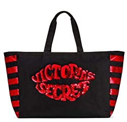 Red Lips Sequins Kiss Large Tote Bag