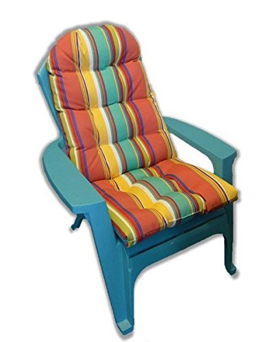 Adirondack Chair Pad - Outdoor Tufted Adirondack Chair Cushion - Red, Orange, Blue, Yellow, White Striped -