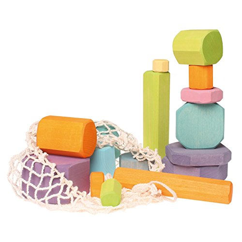 Grimm's Tree Slices - First Wooden Building Blocks Set for Baby & Toddler in Pastel Colors (Grimm Wooden Toys)