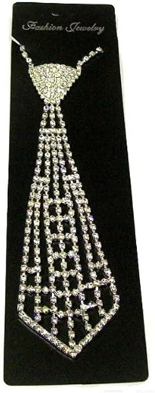 De brillantes plateado gargantilla corbata modelo para