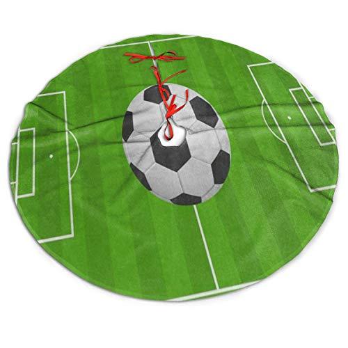 MECIKR Christmas Tree Skirt Sport Ball Football Soccer Field for Xmas Tree Decorations (Soccer Christmas Truce)