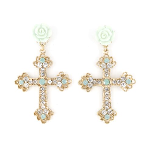 Beautiful Gold-tone White Crystal Cross Dangle Earrings with Flower Post Backings -