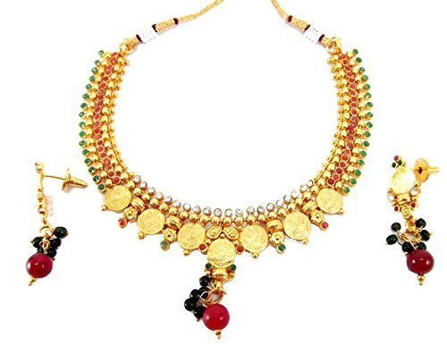 Aria Plated Temple Jwellery Cz Necklace Set Gold