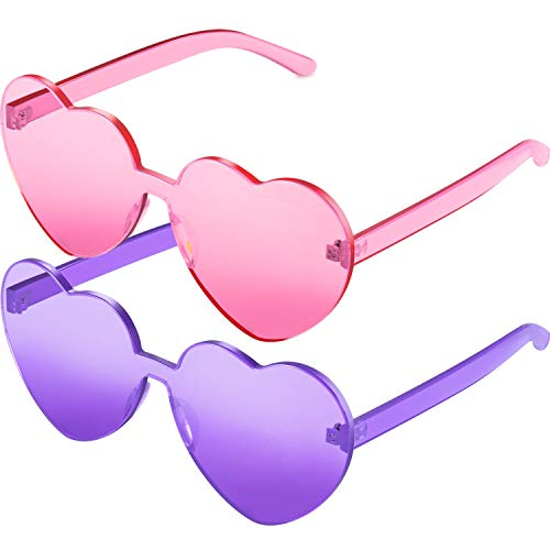 Maxdot Heart Shape Sunglasses Party Sunglasses (Transparent Pink Purple, 2 -