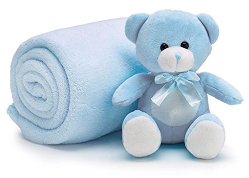Hugs Bear Nursery (Teddy Bear 6 inch Sitting with Cozy Roll of Soft Fleece Nursery Blanket 38 x 28 inch - Blue)