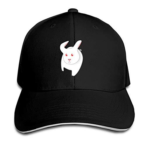 Otkftk Unisex White Bunny Curious Unstructured Cotton Adjustable Hat, Adult Dad Cap