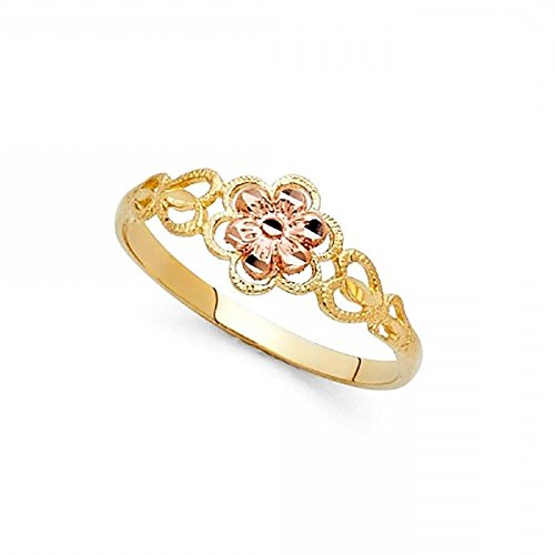 Fancy Flower Ring 14k Yellow & Rose Gold Floral Band Polished Diamond Cut Genuine Two Tone 7MM Size 7