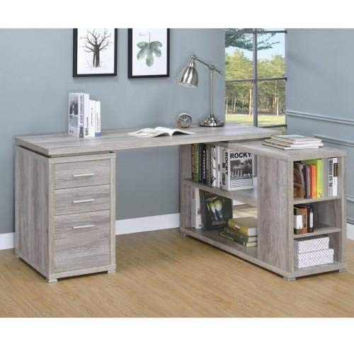 Coaster Home Furnishings 801516 Coaster Yvette Contemporary L-Shaped Office Desk, Grey -