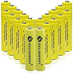 GEILIENERGY NiCd AAA 1.2V 600mAh Triple A Rechargeable Batteries for Solar Light Lamp Yellow Color (Pack of 20)