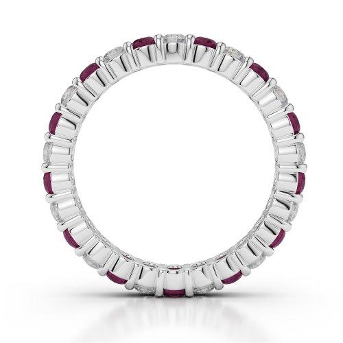 Or blanc 18carats 1CT G-H/VS sertie de diamants ronds Cut Rubis et éternité Bague Agdr-1111