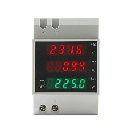 DROK AC Digital Multimeter Voltage Current Electricity Power Meter 80-300V 100A Voltmeter Ammeter LED Volt Amp Power Factor Frequency Monitor Gauge Din-Rail