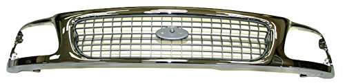 Grille Grill Chrome & Silver Front End for 97-98 Ford Expedition F150 (Expedition Chrome Grille)