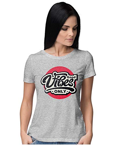 Heybroh Women's Regular Fit T-Shirt Good Vibes Only Textured Look 100% Cotton T-Shirt