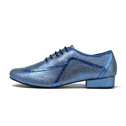 Minishion Gl235 Heren Lace-up Glitter Mode Tango Latin Ballroom Professionele Dansschoenen Blauw-2.5cm Hak