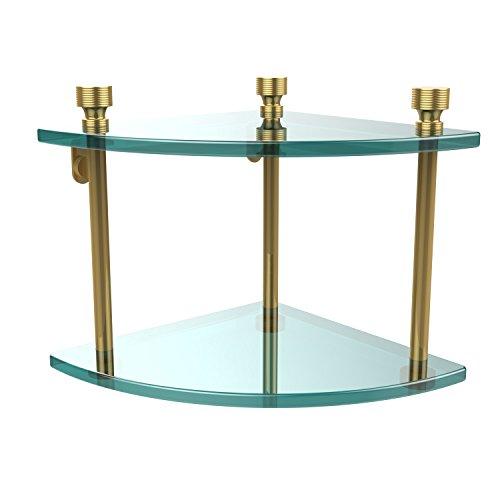 - Allied Brass FT-3-PB Foxtrot Collection Two Tier Corner Glass Shelf Polished Brass