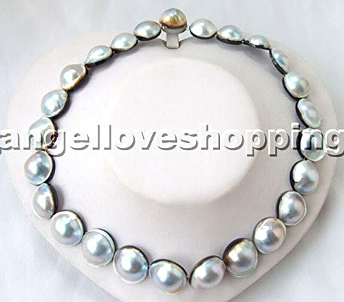 FidgetKute Gray 16-20Mm genuined Cultured White MABE Pearl Necklace MABE Magnet Clasp Show One Size
