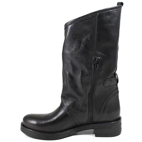 in Stivali 0284 Nero Time Boots Vera Pelle Italy in Comodi Made Fibbie In Biker Morbidi Donna con Nero FO0qW15x