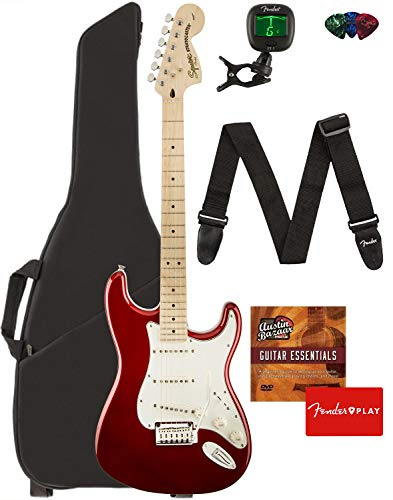 Fender Squier Standard Stratocaster Guitar - Maple Fingerboard, Candy Apple Red Bundle with Gig Bag, Tuner, Strap, Picks, and Austin Bazaar Instructional DVD