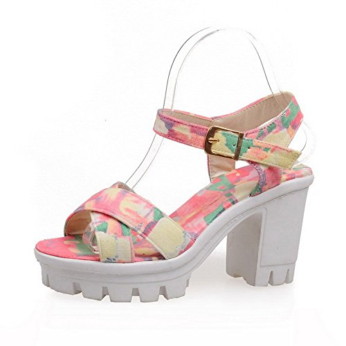 Allhqfashion Mujeres Assorted Color Pu High-heels Open Toe Hebilla-sandalias De Tacón Rosa