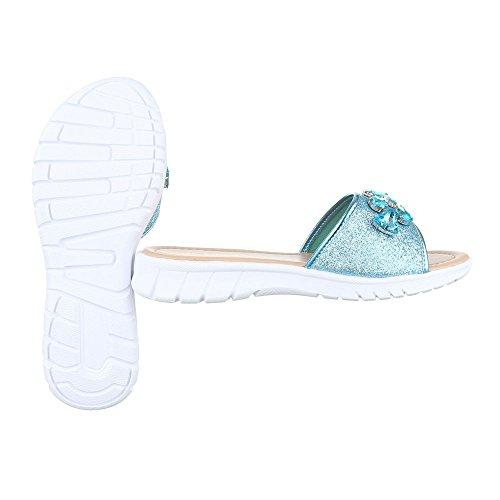 Ital-Design - zapatillas de baile (jazz y contemporáneo) Mujer azul claro