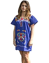 Embroidered Mexican Peasant Mini Dress