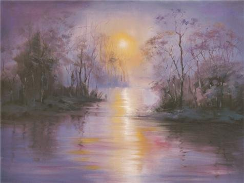 [Perfect Effect Canvas ,the High Quality Art Decorative Prints On Canvas Of Oil Painting 'the Landscape With Sun And The River Bank', 20x27 Inch / 51x68 Cm Is Best For Bar Artwork And Home Artwork And] (Awesome 3 Person Halloween Costumes)