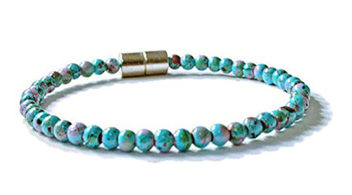 Bead Bracelet Picasso (Beads-N-Style Turquoise Picasso Magnetic Hematite Health Bracelet (6.5))