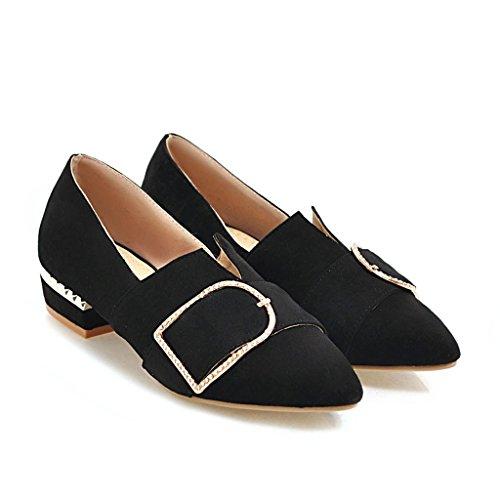 Negro Mujeres Las Señaló Boca del Qin Zapatos Toe Bloque Superficial Talón amp;X nETWxHPR