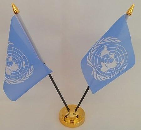 Las Naciones Unidas UN 2 de sobremesa con pantalla de mesa dorado de la bandera de Base: Amazon.es: Hogar