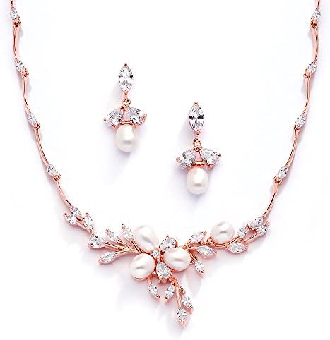 مجموعه جواهرات گردنبند و گوشواره های مروارید آب عروس Mariell 14K Rose Gold Plated CZ
