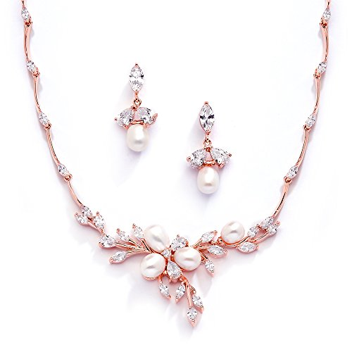 Mariell 14K Rose Gold Plated CZ Bridal Wedding Freshwater Pearl Necklace and Earrings Jewelry Set
