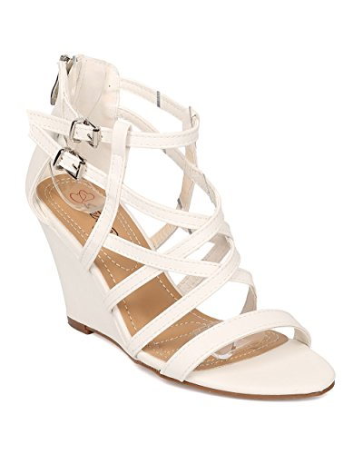 by Sandal Versatile Alrisco Strappy Wedge Collection DbDk Sandal White Sandal Leatherette HB27 Summer Women Wedge Single Sole Dressy AHOww0xvq